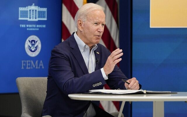 US President Joe Biden speaks on the preparations being made by FEMA for Hurricane Ida at the Eisenhower Executive Office Building, on August 28, 2021, in Washington, DC. (Joshua Roberts/Getty Images/AFP)