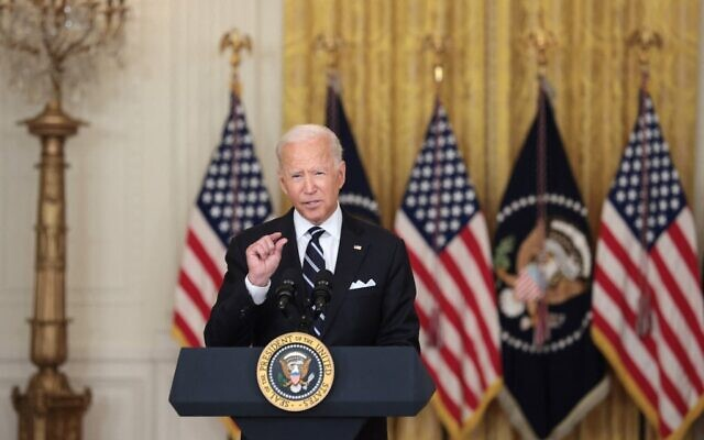 President Joe Biden speaks in the East Room of the White House on August 18, 2021 in Washington, DC. (Anna Moneymaker/Getty Images via AFP)