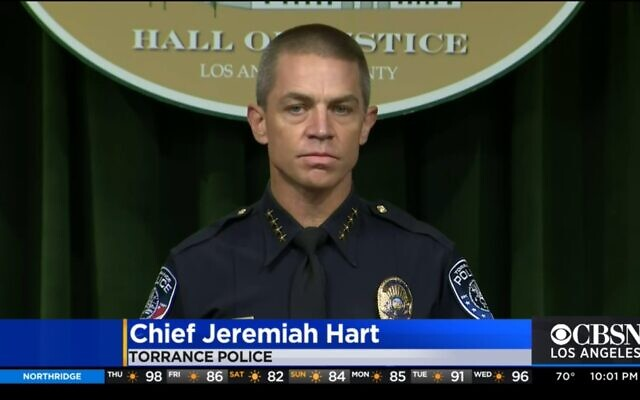 Torrance police chief Jeremiah Hart addresses a press conference in Torrance, California on Aug. 20, 2021. (CBS2/screenshot)