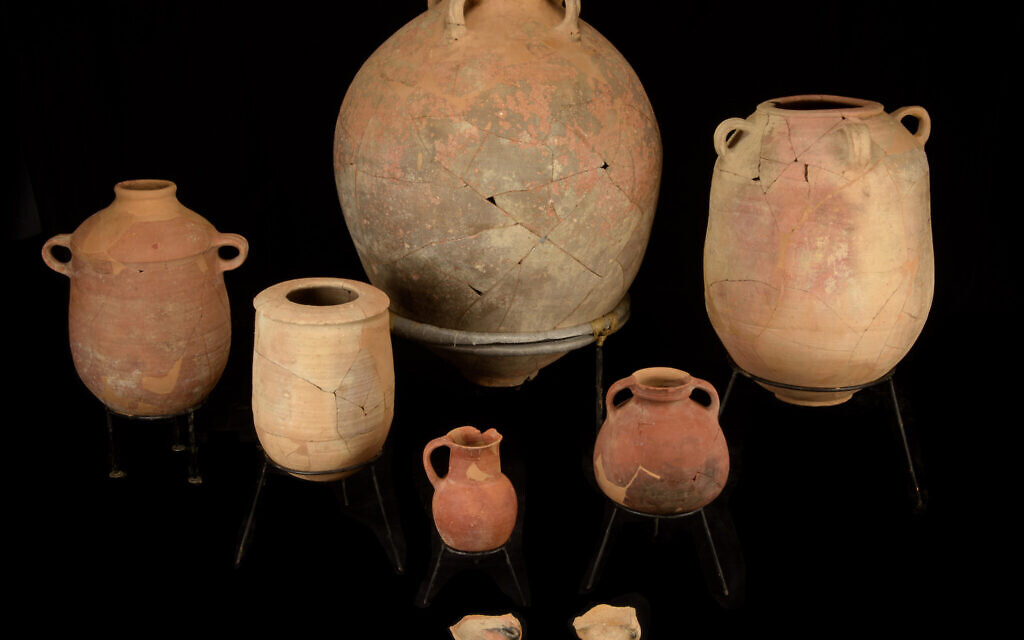 Vessels discovered in Jerusalem's City of David within a layer of destruction from the 8th century BCE, which coincided with a massive earthquake mentioned in the Bible. They are photographed after their restoration by Joseph Bocangolz. (Dafna Gazit/ Israel Antiquities Authority)