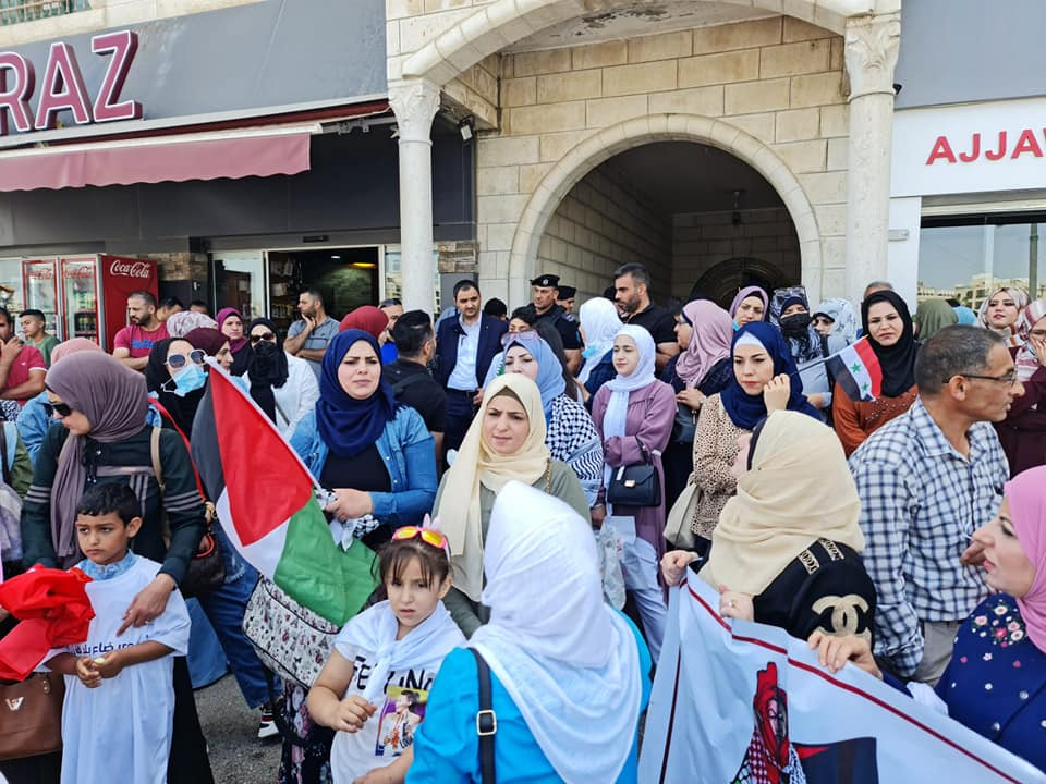Palestinians protest in front of the Civil Affairs Commission in Ramallah on June 14, 2021 (courtesy)
