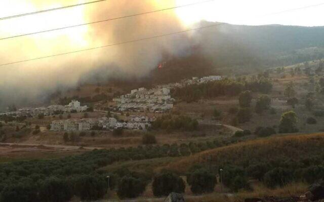 A fire burns near Kiryat Shmona, on August 12, 2021. (Itamar Katz/KKL)