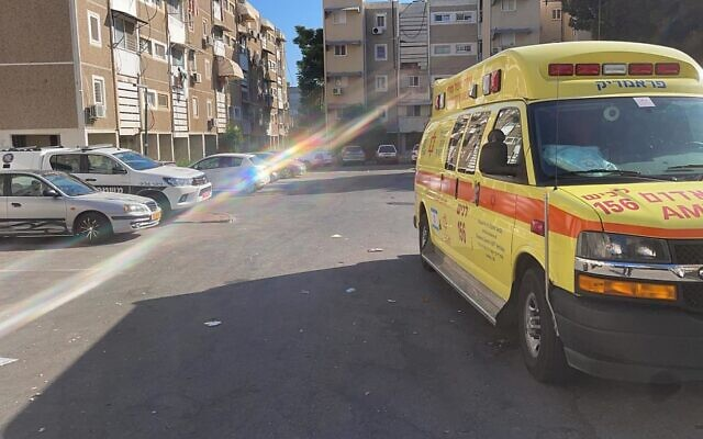 A Magen David Adom ambulance at the site of a domestic violence attack in Sderot on August 19, 2021. (MDA)