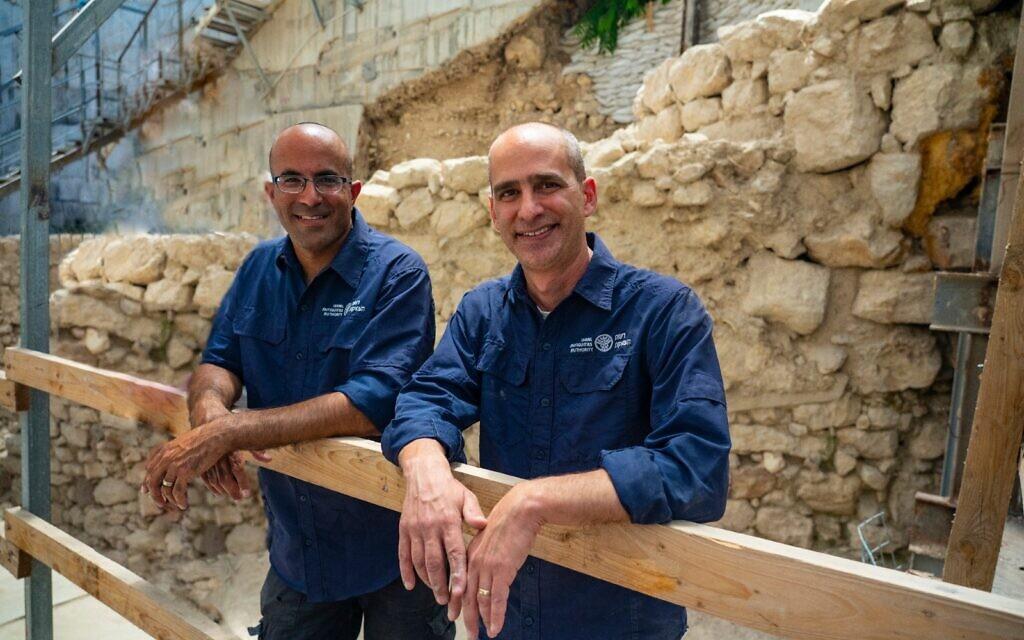 Dr. Joe Uziel, right, and Ortal Kalaf from the Israel Antiquities Authority. (Yaniv Berman/ Israel Antiquities Authority)