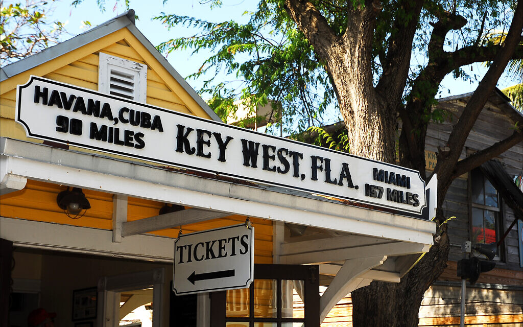 Key West, Florida, is much closer to Havana, Cuba, than to Miami, as is apparent on this storefront in Mallory Square. (Larry Luxner/via JTA)
