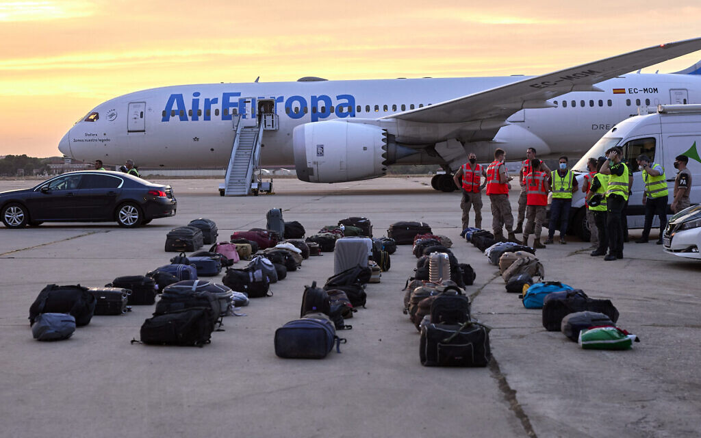 Afghan refugees' luggage sits at the Torrejon de Ardoz air base in Madrid, Spain, on August 24, 2021. (Jesus Hellin/Europa Press via Getty Images)