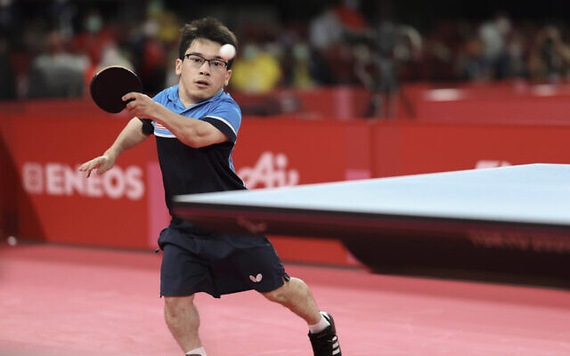 Ian Seidenfeld competes in a gold medal match at the Tokyo 2020 Paralympic Games, August 28, 2021. (Lintao Zhang/Getty Images via JTA)
