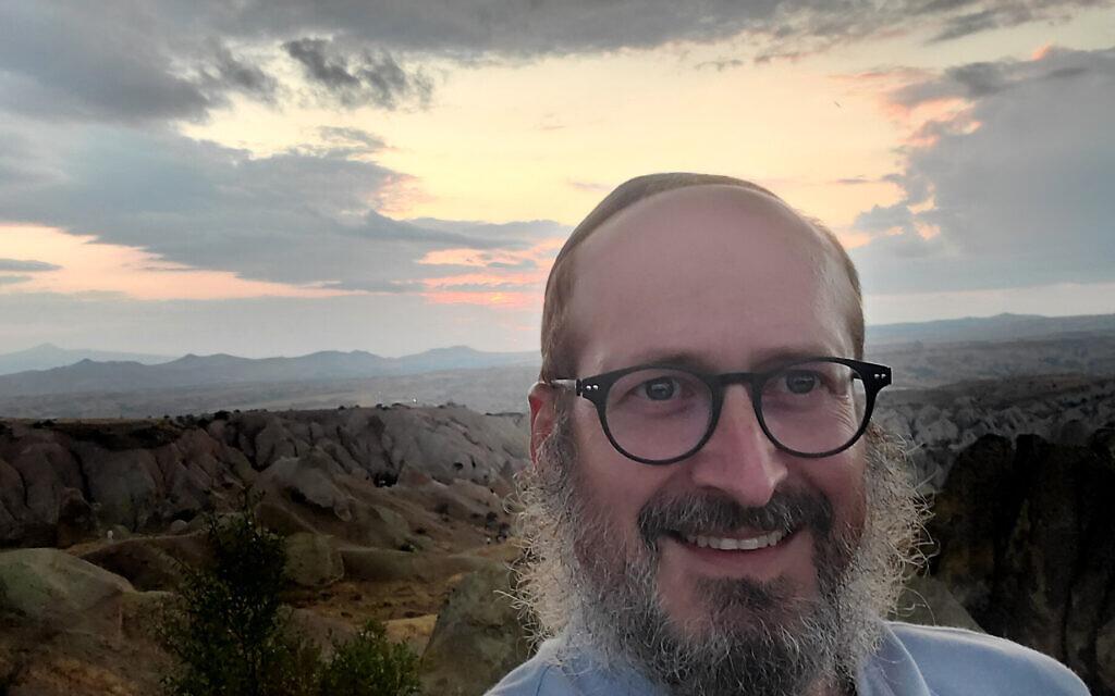 Rabbi Mendy Chitrik takes a selfie at sunset in Turkey on August 9, 2021. (Courtesy of Chitrik/via JTA)