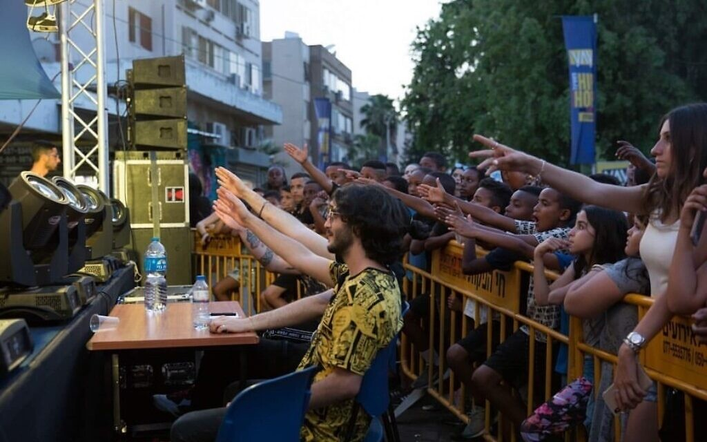 Fans put their hands in the air at an Israel Beatbox contest, in this undated photo. (Courtesy Israel Beatbox)