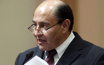 In this March 17, 2014 file photo then-California state Sen. Lou Correa, D-Anaheim, speaks at the Capitol in Sacramento, Calif. (AP Photo/Rich Pedroncelli, File)