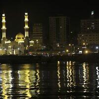 File: A view of Gaza City's Al-Hassayna Mosque at night, June 22, 2017. (AP Photo/Adel Hana)