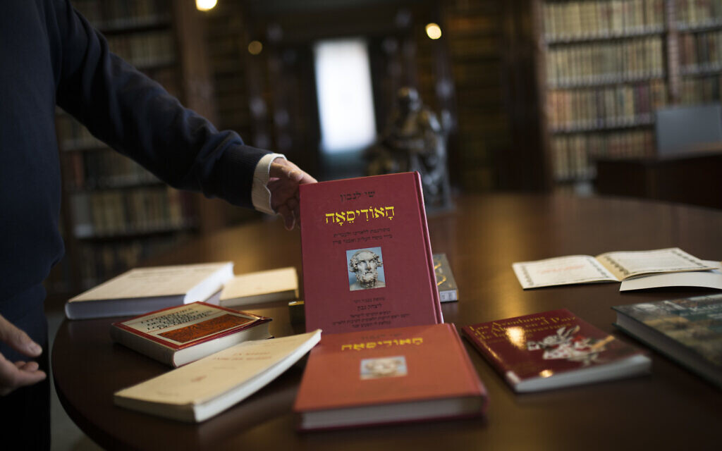 Books written on and about the Ladino or Judeo-Spanish language are set up for a photograph at the library of the Royal Spanish Academy in Madrid, February 20 , 2018. (AP Photo/Francisco Seco)