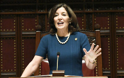 New York Lt. Gov. Kathy Hochul speaks during opening day of the 2019 legislative session in the Senate Chamber at the Capitol on Wednesday, Jan. 9, 2019, in Albany, N.Y. (AP Photo/Hans Pennink)