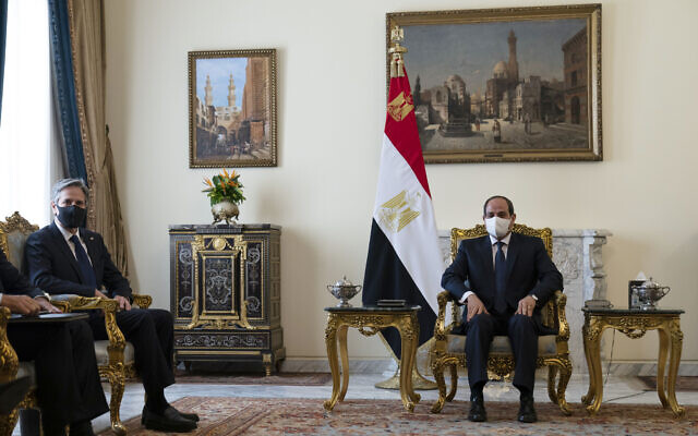 US Secretary of State Antony Blinken, left, is seated during a meeting with Egyptian President Abdel Fattah el-Sissi at the Heliopolis Presidential Palace, on May 26, 2021, in Cairo, Egypt. (AP Photo/Alex Brandon, Pool)