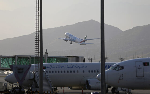 Illustrative: A plane takes off from Hamid Karzai International Airport in Kabul, Afghanistan, July 4, 2021.  (AP/Rahmat Gul)