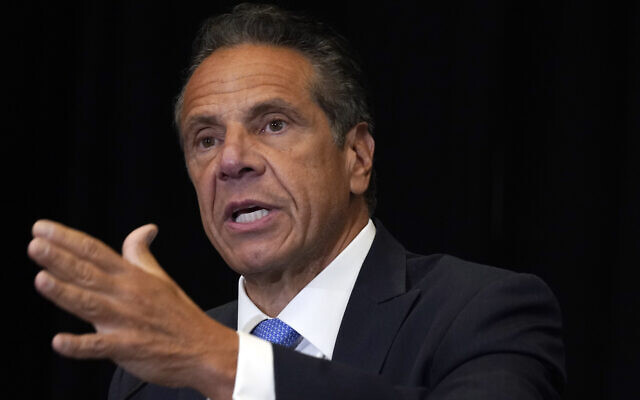 New York Governor Andrew Cuomo speaks during a news conference at New York's Yankee Stadium, on July 26, 2021. (AP Photo/Richard Drew, File)