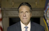 In this image taken video provided by Office of the NY Governor, New York Gov. Andrew Cuomo makes a statement on a pre-recorded video released, Tuesday, Aug. 3, 2021, in New York. (Office of the NY Governor via AP )
