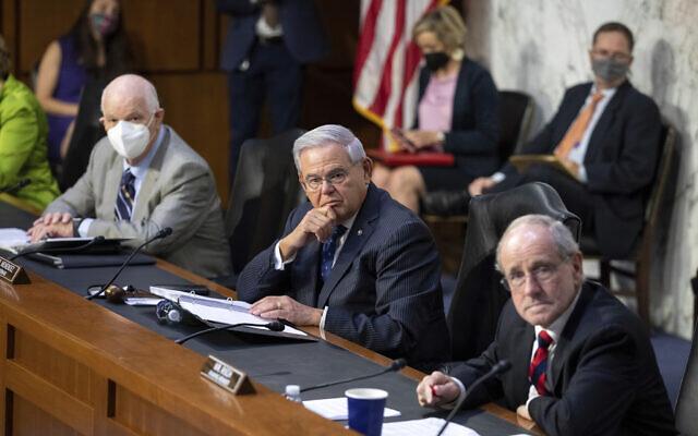 Members of the Senate Foreign Relations Committee, from left, Sen. Ben Cardin, Sen. Bob Menendez and Sen. Jim Risch, meet on Capitol Hill in Washington on Aug. 4, 2021. (AP Photo/Amanda Andrade-Rhoades)