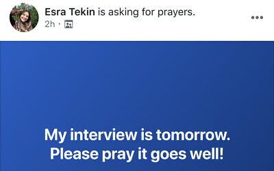 Aa simulation of Facebook's prayer request feature. (Facebook via AP)