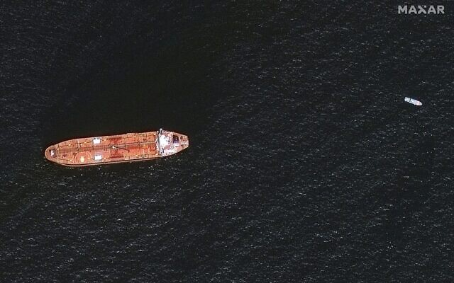 In this image provided by Maxar Technologies, the oil tanker Mercer Street is seen off the coast of Fujairah, United Arab Emirates, on August 4, 2021. (Satellite image ©2021 Maxar Technologies via AP)