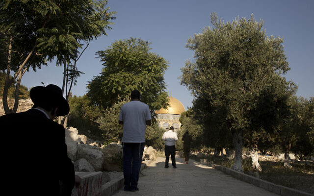 Religious Jews on the Temple Mount in the Old City of Jerusalem, August 2, 2021. (AP Photo/Maya Alleruzzo)