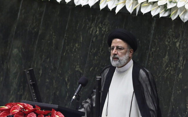 President Ebrahim Raisi delivers a speech after taking his oath as president in a ceremony at the parliament in Tehran, Iran, on August 5, 2021. (AP Photo/Vahid Salemi)