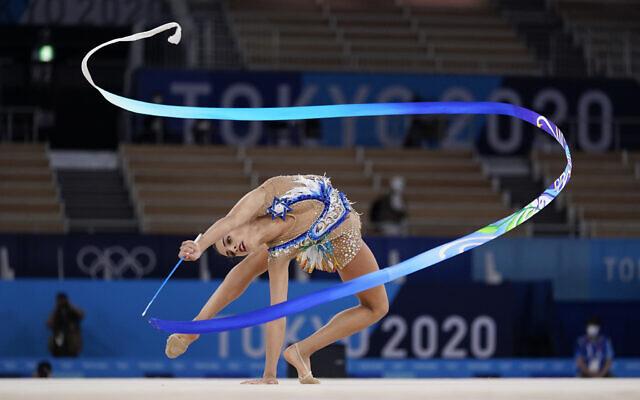 Israeli gymnast Linoy Ashram performs during the rhythmic gymnastics individual all-around final at the 2020 Summer Olympics, on Saturday, August 7, 2021, in Tokyo, Japan. (AP/Ashley Landis)