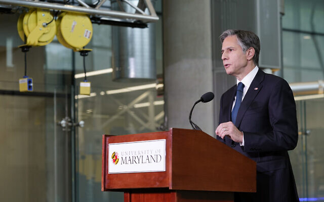 Secretary of State Antony Blinken speaks about infrastructure investment at the University of Maryland's A. James Clark School of Engineering on Aug. 9, 2021, in College Park, Md. (AP Photo/Patrick Semansky, Pool)