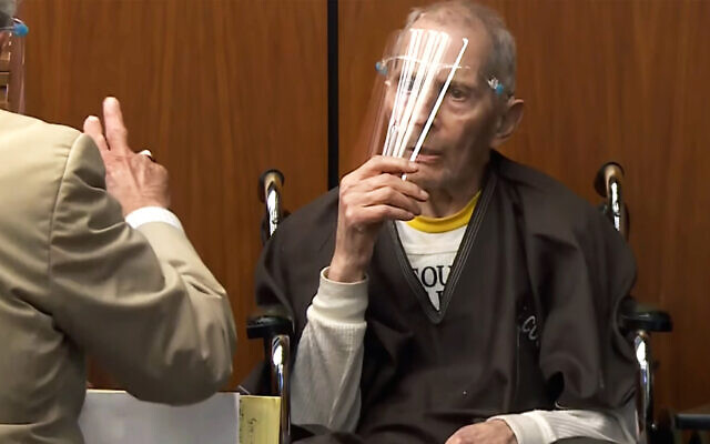 In this still image taken from the Law & Crime Network court video, real estate heir Robert Durst asks if he can remove his face mask during his murder trial on Aug. 9, 2021, in Los Angeles County Superior Court in Inglewood, California (Law & Crime Network via AP, Pool)