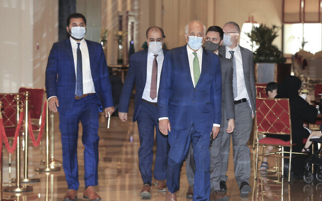 US peace envoy for Afghanistan Zalmay Khalilzad arrives for talks in Doha, Qatar, on August 10, 2021. (AP Photo/Hussein Sayed)