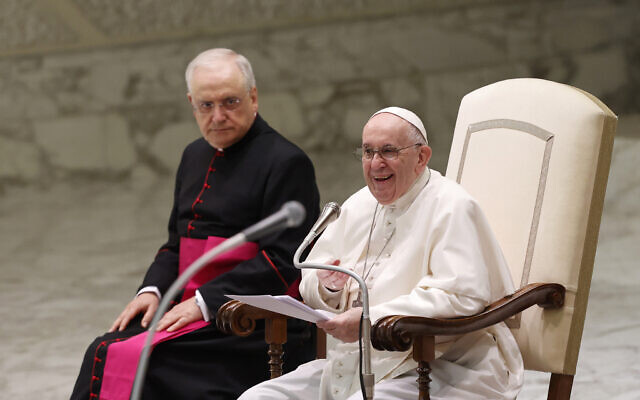 Pope Francis speaks during his weekly general audience in the Paul VI hall at the Vatican, Wednesday, Aug. 11, 2021. (AP Photo/Riccardo De Luca)
