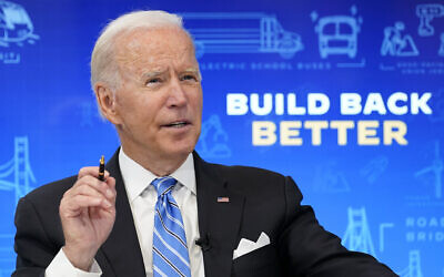 US President Joe Biden speaks during a virtual meeting from the South Court Auditorium at the White House complex in Washington, Aug. 11, 2021 (AP Photo/Susan Walsh)