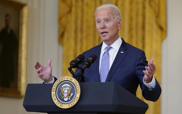 US President Joe Biden speaks from the East Room of the White House, on Thursday, August 12, 2021, in Washington. (AP Photo/Evan Vucci)