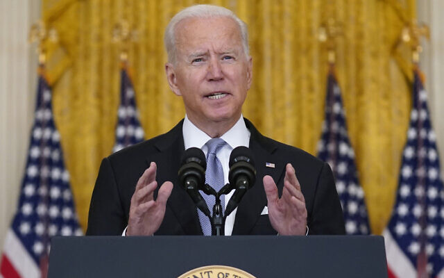 US President Joe Biden speaks about Afghanistan from the East Room of the White House, August 16, 2021, in Washington. (AP Photo/Evan Vucci)