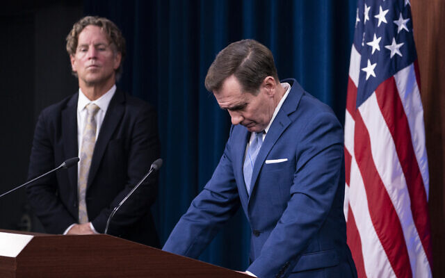 Pentagon spokesman John Kirby listens to a question during a media briefing at the Pentagon on August 16, 2021, in Washington. Garry Reid, with the Department of Defense crisis action group for Afghanistan, listens at left. (AP Photo/Alex Brandon)