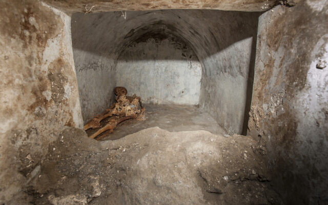In this undated photo released by the Pompeii archeological park, a view of the tomb located in the necropolis of Porta Sarno, in an area not yet open to the public in the east of Pompeii's urban center. (Alfio Giannotti/Pompeii Archeological Park via AP)