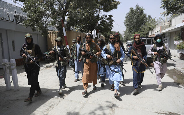 Taliban fighters patrol in the Wazir Akbar Khan neighborhood in the city of Kabul, Afghanistan, Aug. 18, 2021.  (Rahmat Gul/AP)