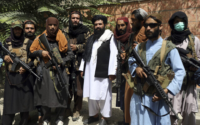 Taliban fighters pose for photograph in Wazir Akbar Khan in the city of Kabul, Afghanistan, Wednesday, Aug. 18, 2021. (AP Photo/Rahmat Gul)