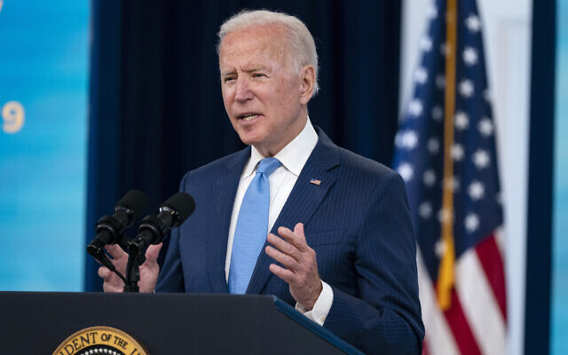 US President Joe Biden delivers remarks on the full FDA approval of the Pfizer-BioNTech coronavirus vaccine, in the South Court Auditorium on the White House campus, August 23, 2021, in Washington. (AP Photo/Evan Vucci)
