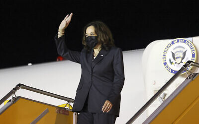 US Vice President Kamala Harris leaves her plane as she arrives at the airport in Hanoi, Vietnam, on August 24, 2021. (Evelyn Hockstein/Pool Photo via AP)