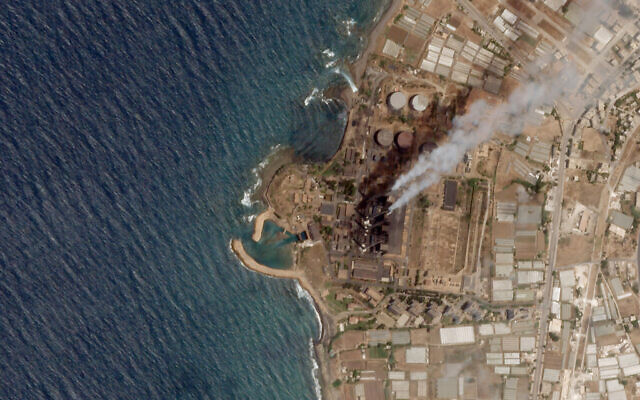 In this satellite photo from Planet Labs Inc., the Baniyas Thermal Station, a major oil refinery, is seen in Baniyas, Syria, June 20, 2021. (Planet Labs Inc. via AP)