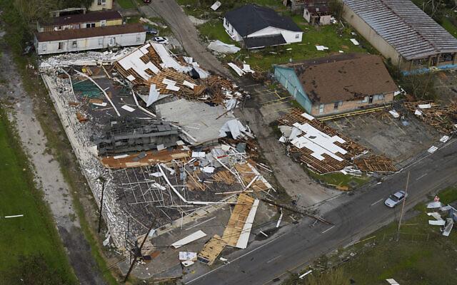 Damge is seen in the aftermath of Hurricane Ida, August 30, 2021, in Houma, Louisiana. (AP Photo/David J. Phillip)
