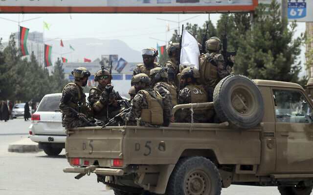 Taliban special forces arrive at the Hamid Karzai International Airport after the US military's withdrawal, in Kabul, Afghanistan, on August 31, 2021. (AP/Khwaja Tawfiq Sediqi)