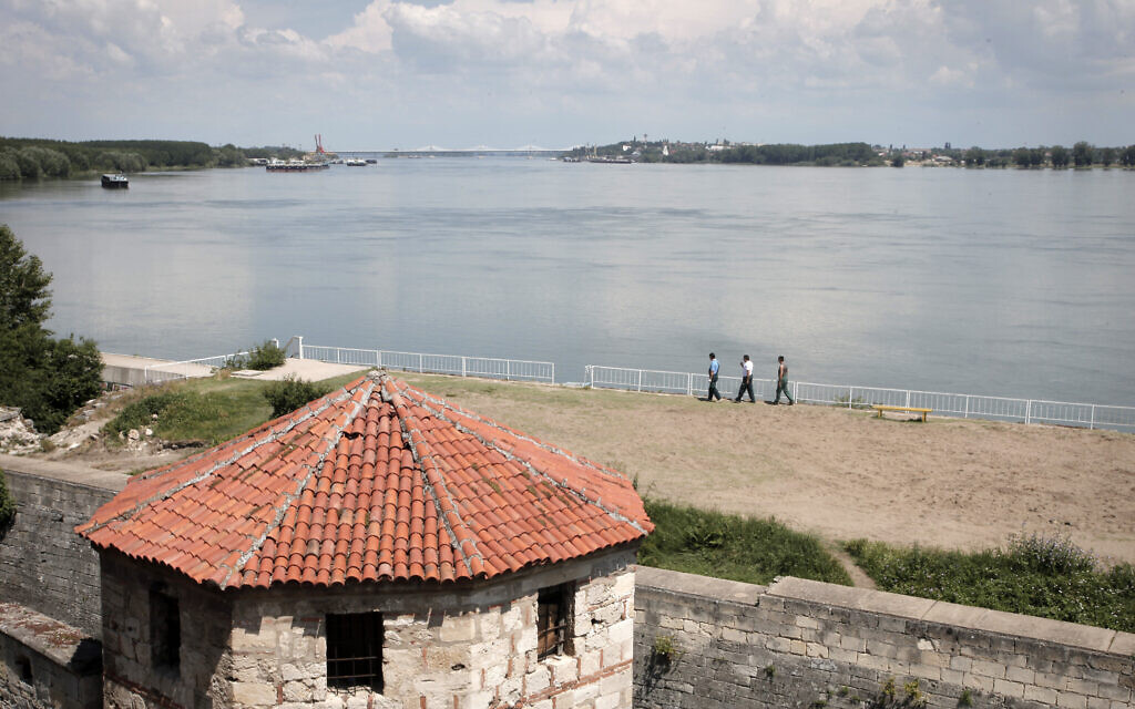 A view of the Danube River from the town of Vidin, Bulgaria, with the new bridge between Bulgaria and Romania in the distance. (AP Photo/Valentina Petrova)