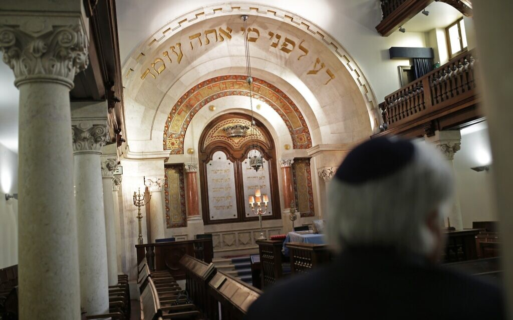 Illustrative: Jose Oulman Bensaude Carp, President of the Jewish community in Lisbon, waits to be interviewed by The Associated Press at the main Jewish synagogue in Lisbon, January 28, 2015. (AP Photo/Francisco Seco)