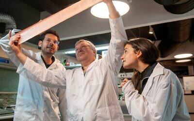 Dr. Moshiel Biton, left, at Addionics' lab in Tel Aviv. (Photo: Addionics)