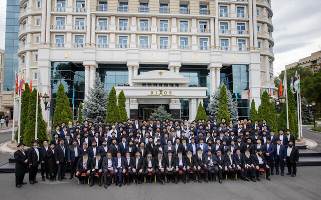 Chabad rabbis from across the former Soviet Union pose for a group photo in Almaty, Kazakhstan, July 29, 2021. (Yehezkel Itkin via JTA)