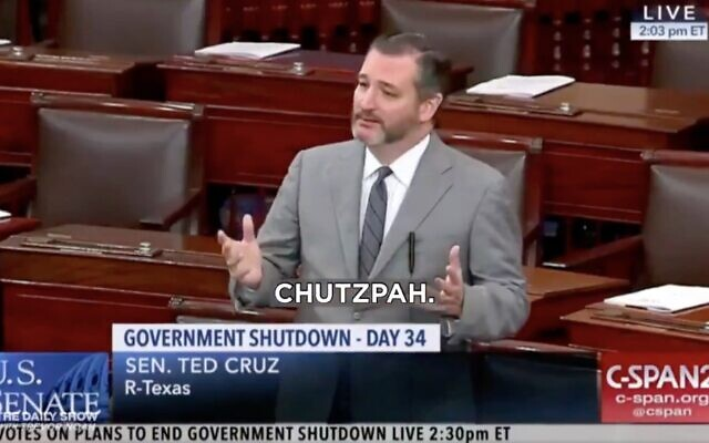 A screenshot from a 'Daily Show' clip showing Texas Sen. Ted Cruz repeatedly using the Yiddish word 'chutzpah.' (Screenshot from The Daily Show, via JTA)