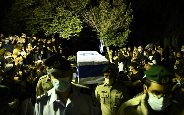 A coffin carrying the body of Border Police officer Barel Hadaria Shmueli at a funeral in Tel Aviv on August 30, 2021. Shmueli died nine days after being shot in the head during riots on the Gaza border. (Police spokesperson)
