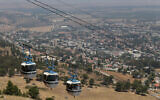 File: A cable car is seen at Manara cliff above the northern city of Kiryat Shmona on August 13, 2014 (Nati Shohat/Flash90)